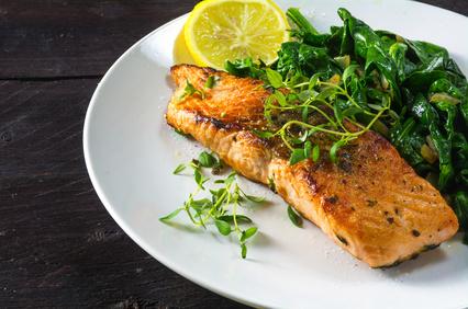Pavé de saumon épinards